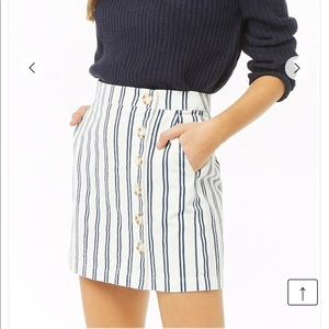 NEW! Striped Denim Button-Front Skirt